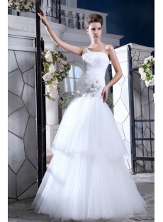 Elegant Drop Waist One Shoulder Outdoor Wedding Dresses for Fall