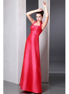 Elegant Inexpensive Coral A-line Long Taffeta Bridesmaid Dresses Halter