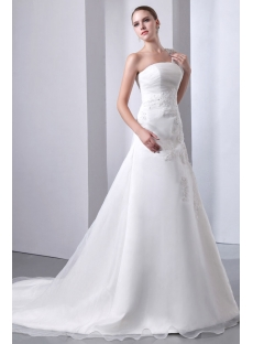 Elegant One Shoulder Long A-line Organza Bridal Gowns