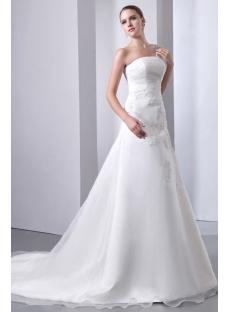 Elegant One Shoulder Long A-line Organza Bridal Gowns