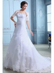 Elegant Organza A-line Princess Wedding Gown with Short Jacket