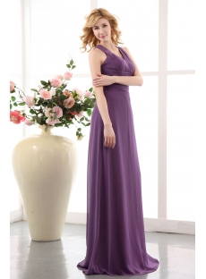 Elegant Purple Criss Cross Back Evening Dress 2013 Long Chiffon