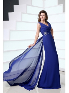 Elegant Royal Blue V-neckline Chiffon Sheath Mother of Groom Dress