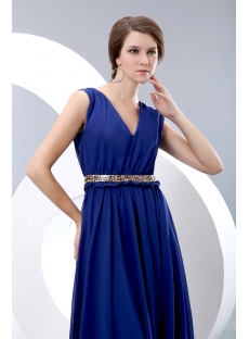 Elegant Royal blue V-neckline Chiffon Evening Dress with Belt