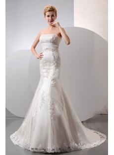Elegant Sweetheart Long Lace Sheath Wedding Dress