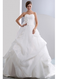 Elegant Sweetheart Organza Pick up Skirt Bridal Gown