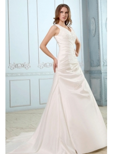 Elegant Taffeta V-neckline A-line with Buttons Wedding Dress