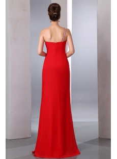 Exquisite Red One Shoulder Slit Front 2014 Prom Party Dress