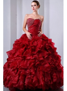 Fancy Burgundy Puffy baile de debutantes Dress Sweetheart