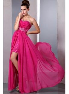 Fancy Hot Pink High Low Hem Prom Dresses under 200