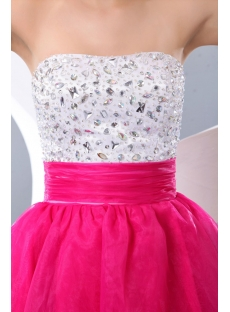 Fancy White and Fuchsia Short Party Dress