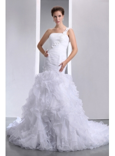 Fantastic One Shoulder Ruffled Mermaid Wedding Gown