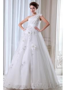 Flower One Shoulder Garden Wedding Gown 2013