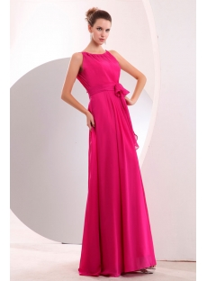 Flowing Hot Pink Modest Chiffon Evening Dress Spring