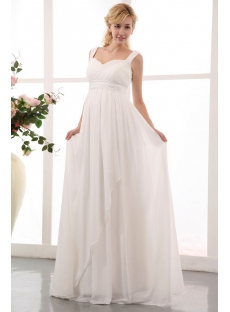 Flowing Straps Long Chiffon Plus Size Maternity/Pregnant Wedding Dresses