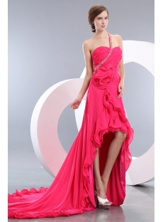 Fuchsia Beautiful High-low Hem One Shoulder Prom Celebrity Dress with Train