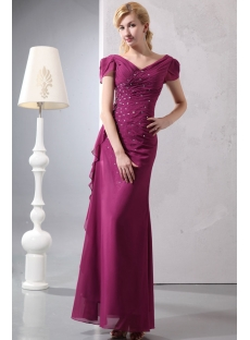Fuchsia V-neckline Plus Size Evening Dress with Cap Sleeves