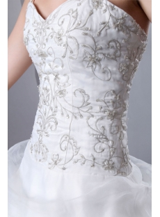 Gold Embroidered Pick up Ball Gown Wedding Dress