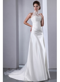 Graceful Lace Illusion High Neckline A-line Wedding Dress