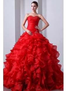 Graceful Red Ruffled Sweetheart Puffy Quinceanera Gown 2014