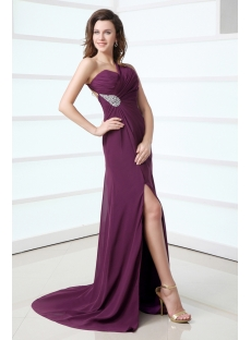 Grape Backless Chiffon One Shoulder Celebrity Dress