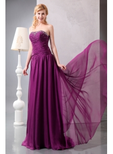 Grape Sweetheart Drop Waist Long Chiffon Evening Dress 2013 Cheap