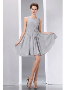 Gray Bateau Sleeveless Chiffon Short Homecoming Dresses