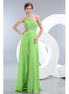 Green One Shoulder Sexy Evening Dress with Slit