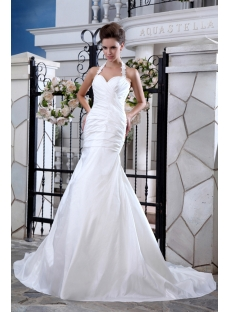 Halter Sheath Taffeta Bridal Gowns for Beach Weddings