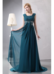 Hunter Green Chiffon V-neckline Plus Size Formal Dress with Train