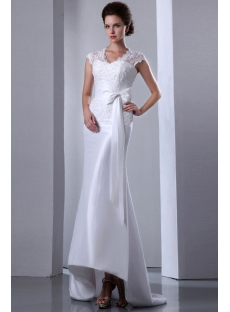 Illusion Lace Sheath Bridal Gown with Cap Sleeves
