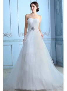 Ivory Long Sweetheart A-line Tulle Princess Style Wedding Dresses