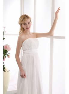 Ivory Strapless Long Chiffon Pregnant Beach Wedding Dresses