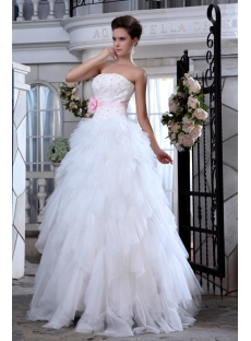 Ivory and Pink Ruffled Strapless Casual Wedding Dresses for Spring