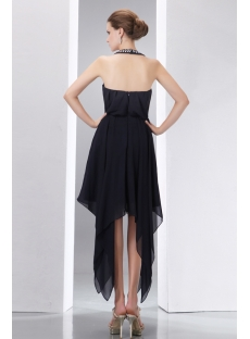 Jeweled Halter Handkerchief Ruffles High-low Little Black Dress