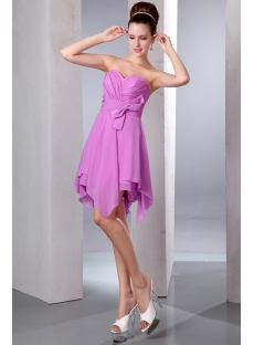 Lilac Sweetheart A-line Short Chiffon Asymmetrical Bridesmaid Dresses