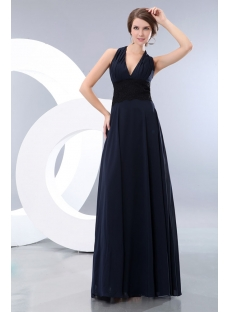 Long Halter Dark Navy Graduation Dress with Black Lace