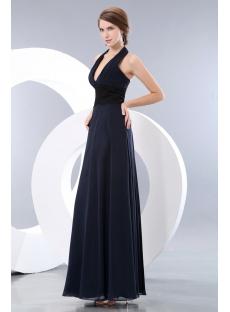28cd6dde13e7 Long Halter Dark Navy Graduation Dress with Black Lace:1st-dress.com
