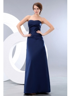 Long Satin Navy Blue Sweetheart Bridesmaid Dress Discount