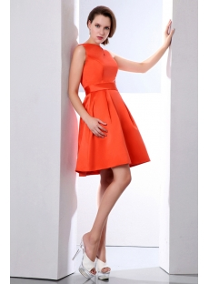 Lovely Bateau Burnt Orange Short Satin Homecoming Dress