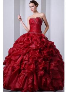Lovely Burgundy Sweetheart Organza Ruffled festa de debutantes Dresses