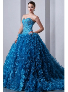 Luxurious Beaded Blue Sweetheart Ruffled Ball Gown Quinceanera Dress 2014 with Trai
