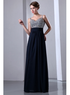 Luxurious Spaghetti Straps Jeweled Long Evening Dress