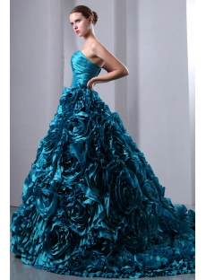 Luxurious Teal Blue 3D Handmade Floral Bridal Gowns 2014 with Sweetheart