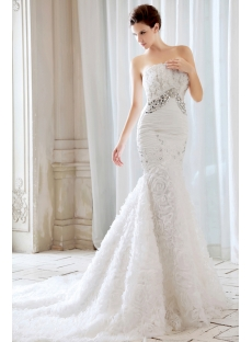 Luxury Strapless Flowers Mermaid Style Wedding Dresses with Train