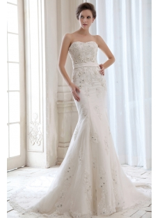 Luxury Sweetheart Beaded Sheath Bridal Gowns