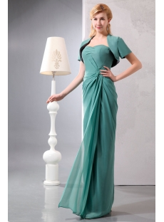 Modest 2 Pieces Sage Chiffon Long Mother of Groom Dress with Short Jacket