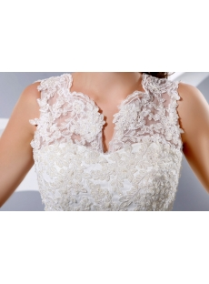Modest Lace Sheath Bridal Gowns with Buttons