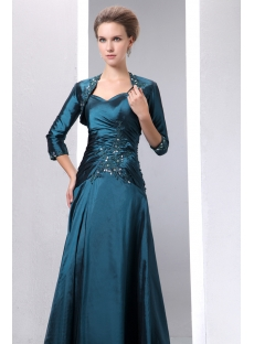 Modest Long Taffeta Teal Blue Mother of Groom Dress with Bolero