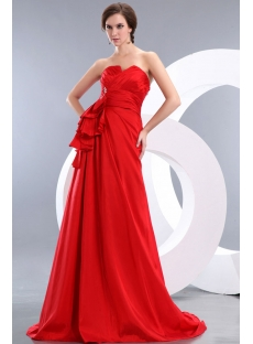 Modest Red A-line Taffeta Ruffle Evening Dress with Train